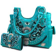 Turquoise Women Tote Handbag Wallet Set Western Gleaming Buckle Concealed Carry