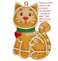 GINGERBREAD CAT MY FIRST PET LITTLE KITTEN PERSONALIZED CHRISTMAS TREE ORNAMENT