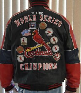 RARE FIND~10-TIME WORLD SERIES CHAMPIONSHIP CARDINALS JACKET~100% LEATHER~XXL