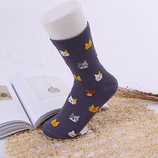 Women Lovely PURPLE Cute Cat Socks Animal Cartoon Cotton WINTER Socks 1 Pair