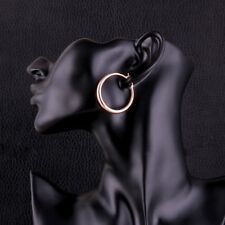 42mm Stainless Steel 14K Rose Gold Plated Round Endless Hoop Earrings Womens New