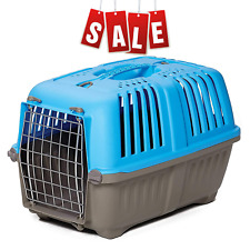 Pet Puppy Carrier In Hard Sided Travel Portable Cage Kennel Animal Dog Cat Blue
