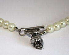 Human Skull Faux Pearl Necklace, Handmade English Pewter, Gift Boxed, WA