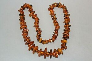 Vintage Genuine AMBER Necklace 80g Natural beads with lots of inclusions 13 inch