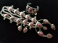 HUGE! Silver CHUNKY PINK CORAL Squash Blossom Necklace Bracelet & Earrings SET!