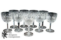 Set of 10 Vintage Tudor England Cut Crystal Wine Glasses Water Goblets Stemware