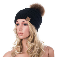 Womens Mens Acrylic Winter Cap Baggy Slouchy Fur Pompom Beanie Toque Hat A404