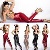 Top Women Skinny Leggings Clubbing Trouser Ladies Wet Look Pants Size 6 8 10 12