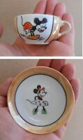 Vintage Antique Walt Disney Demitasse Mickey Mouse Porcelain Cup & Minnie Saucer