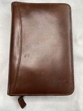 Franklin Quest Calfskin Brown Leather Zipper Organizer Small 6 Ring 11529 Yf4 Us