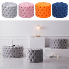 Round Chesterfield Button Matte Velvet Pouffe Footstool Coffee Table Sofa Seat