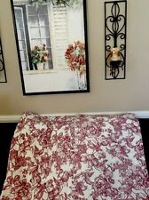 Waverly Garden RED Toile DRAPERY PANELS PAIR 92 x87 Vintage floral rose on white