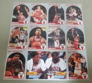 MICHAEL JORDAN 1990 NBA HOOPS CARD CHICAGO BULLS UNCUT TEAM SHEET AUTHENTIC