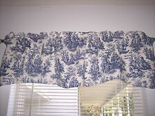 NAVY DELFT BLUE/WHITE~WAVERLY Rustic Toile Scalloped Lined Valance CURTAINS!!!!