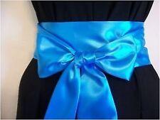 """NUOVO 3.5""""x85"""" Turchese Blu Cintura fusciacca in raso Self Cravatta Fiocco per Festa Abito da sposa"""