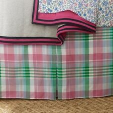 RALPH LAUREN University Caitlin Madras Twin Bedskirt Pink Green White Plaid NIP