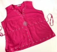 CATO Blouse Top 18/20 W Plus Linen Sleeveless Tie Back Pink Silver Pretty