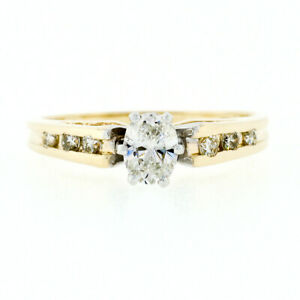 Estate 14k Two Tone Gold .50ct Oval Diamond Solitaire Engagement or Promise Ring