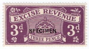 (I.B) Excise Revenue : 3d Purple (1916) specimen