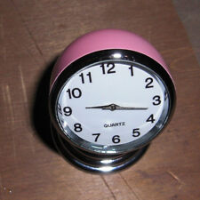 Vtg Style Circa Art Deco Truck Car PINK Magnetic Clock Hot Rat Rod 30 40s 50s