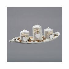 Teelichthalter Set Blatt Tablett Herzen Sand Steine Antik/Weiß Deko 3 Teelicht