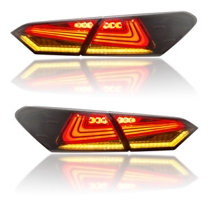 Fits 2018 2019 2020 Toyota Camry Tail Lights Smoke LED 4pcs Rear Lamps Assembly