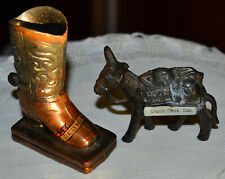 Vintage Metal Cowboy Boot & Pack Mule, Burro, Donkey Souvenir Figure