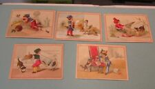 Children and Animals 5 Victorian Trade Card Lot Cats and Geese Making Mischief
