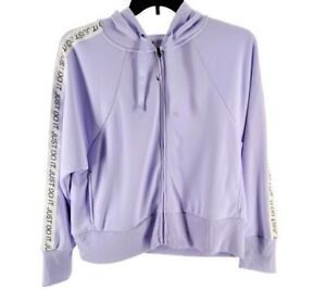 Nike Womens Purple Dri Fit Just Do It Fleece Zip Training Hoodie Size Medium