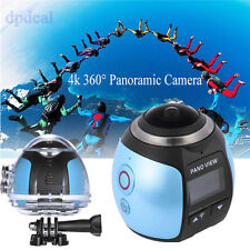 Blue 360 4K HD WIFI Panoramic Camera Video Action Sport Waterproof Cam +Battery