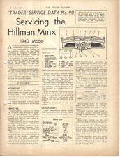 Hillman Minx 1940 Model Motor Trader Service Data No. 90 1940
