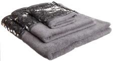 Towel Set Popular Bath 3 Pieces Sinatra Silver Cotton with Decorative Boarder
