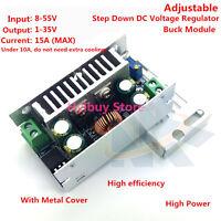DC 8v~55v to DC1v~35v 12v15A Adjustable Buck Module Step Down Voltage Regulator