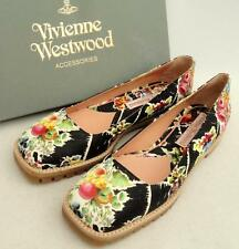 Vivienne Westwood Floral Leather Flats Shoes UK6 /EU39, rrp450GBP