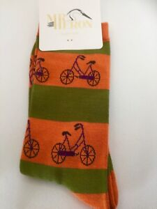 MENS bicycle pattern Colourful bamboo socks Orange & Green, BNWT