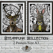 Steampunk Animal Collection 2 Posters A3 Size Rabbit and Stag Pictures