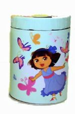 Dora the Explorer Large Round Blue Illustrated Tin Coin Bank Style C NEW UNUSED