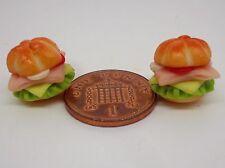 Escala 1:12 ensalada cochina pan jamón Rollo x 2 casa de muñecas en miniatura de alimentos
