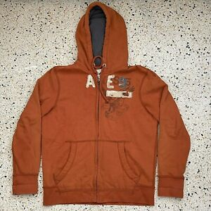 American Eagle Sweater Adult Large Orange Gray Logo Full Zip Hooded Pullover Men