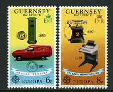 Guernsey 189-190, MNH. EUROPA CEPT. Pillar Box, Truck, Telephone, Telex, 1979