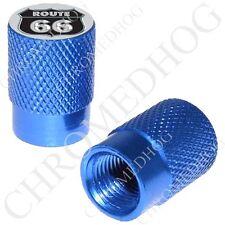 2 Lt Blue - Billet Aluminum Custom Valve Caps for Motorcycle & Cars - Route 66