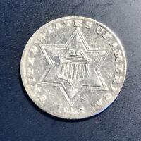 1858 Three Cent Piece 3c Silver Trime Rare High Grade #8055