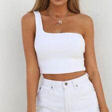 Women Sexy Summer Sleeveless Tank Vest Blouse One Off-Shoulder Crop Tops Shirt