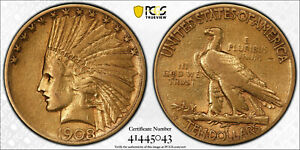 M13944- 1908-S $10 GOLD INDIAN EAGLE PCGS VF30 CAC