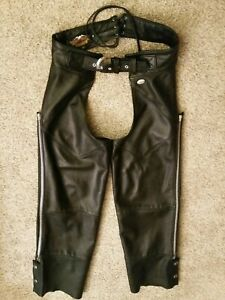 Harley Davidson Chaps Adult Womens medium, black leather USA