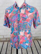 Vintage Colore Italia 100% Silk Camp Shirt Short Sleeve Men's S Geometric 1990's