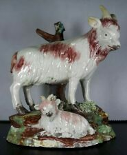 Antique Georgian Staffordshire Molded Pottery Creamware Goat+Kid Circa 1790s