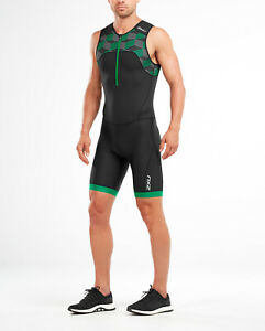 New 2XU Men Active Trisuit Front Zip Black / Green Medium Tri Suit MT4862d