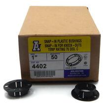 "Arlington 4402 Plastic 1"" Snap-In Bushings for Knockouts 50 Pack Black"