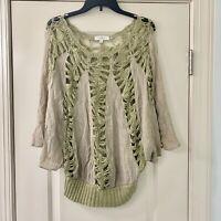 Umgee Crochet Green Boho Peasant Top M/L